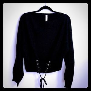 Front Lace Detail Cropped Sweater NWT